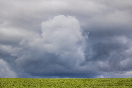 Minimalism photo of a dramatic cloud over a green field.