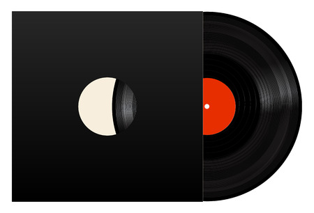 Vinyl Record With Black Cover. Realistic Illustration. Icon