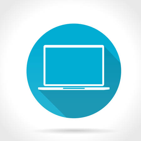 Flat Long Shadow Icon Of Laptop Vector
