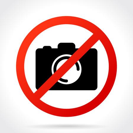 No Photo Camera Sign, Icon Vector