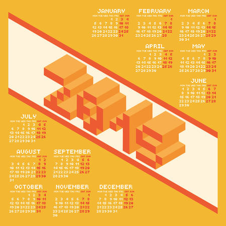 next year: Square Pixel Style Year 2015 Calendar