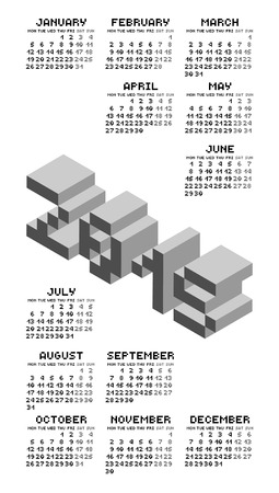 scheduler: Black And White Square Pixel Style Year 2015 Calendar Illustration