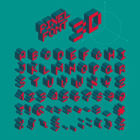 Isometric Pixel Font, Vector Letters, Alphabet Ilustracja