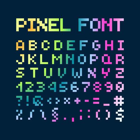 multicolored: Multicolored Gradient Pixel Font, Alphabet