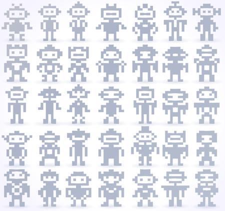 Set Of Different Pixel Robots Vector