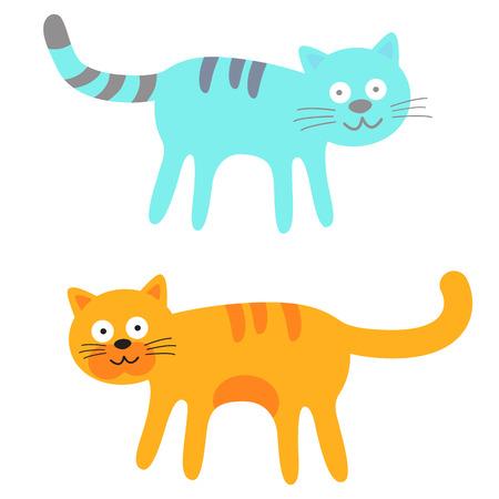 gato caricatura: Azul y naranja Gatos lindos