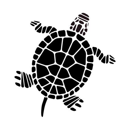 Silhouet van de Schildpad Vector Illustratie