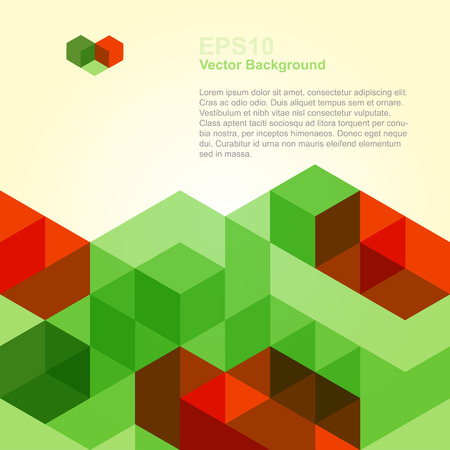graphic design: Abstract Background With Red And Green Cubes