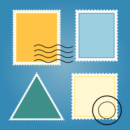 stamp: Vector Set Of Blank Colorful Postage Stamps Illustration