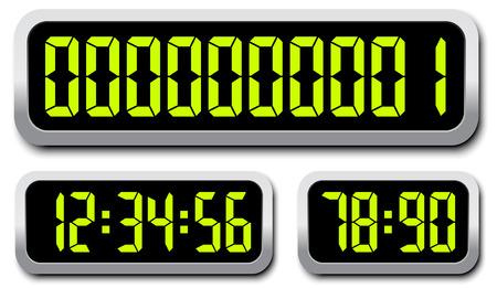 デジタル数字のセットです。カウント ダウン タイマー  イラスト・ベクター素材