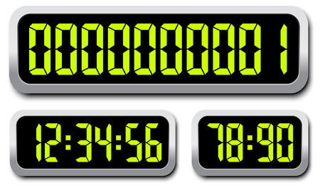 Set Of Digital Numbers. Countdown Timer Vector