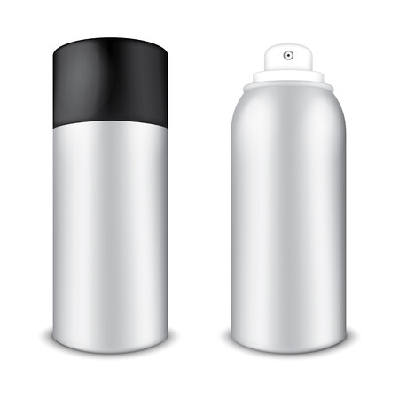 Blank Aluminum Spray Cans Vector
