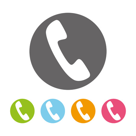 phone receiver: Phone receiver in the circle icons