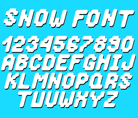 Vector snow font, white letters and numbers