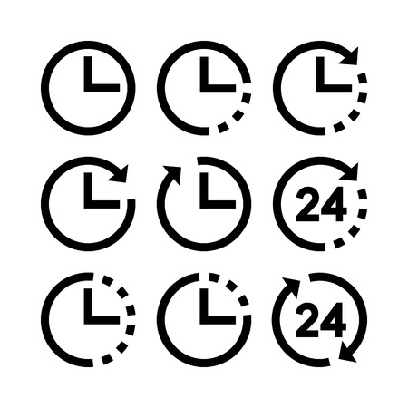 arrow icon: Clocks and time. Set of vector icons Illustration