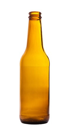 single beer bottle: Empty brown beer bottle isolated on white