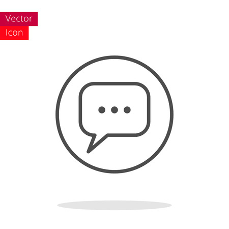 vector message: Message Thin Line Icon. Message Icon in circle. Vector Message Icon. Round Message Icon. Message Icon On white background. Message Icon Illustration.