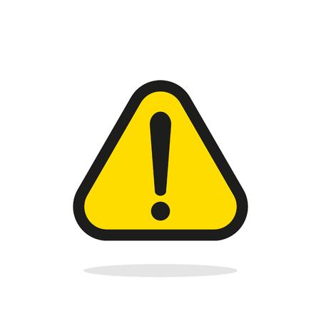 Avertissement signe, signe d'avertissement jaune, avertissement signe icône, avertissement signe sur blanc, avertissement signe vecteur, avertissement signe illustration. Triangle signe d'avertissement
