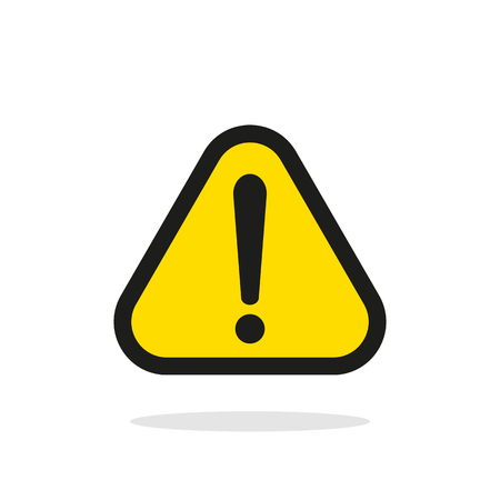 Warning sign, Yellow warning sign, Warning sign Icon, Warning sign on white, Warning sign vector, Warning sign illustration. Triangle warning sign Vectores