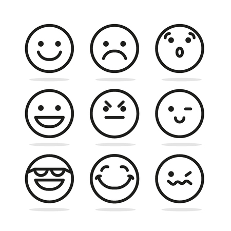 cartoon emotions: Set Of Smile Icons, smile icon flat, smile icon round, smile icon vector, smile icon illustration, smile icon on white, cute smile icon, emotion smile icon
