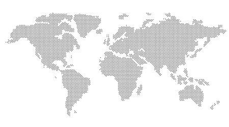 Vector Round Dotted World Map On A White Background