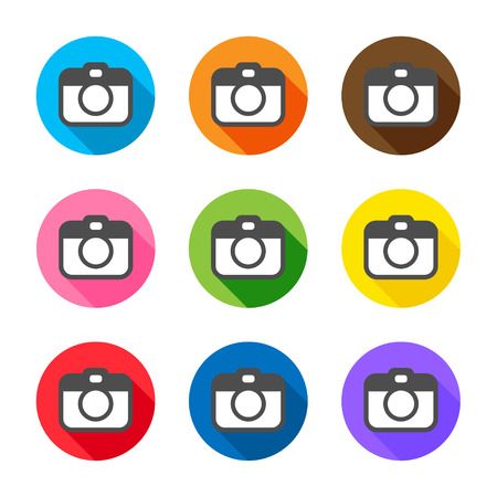 journalistic: Colorful flat style with long shadows camera icons set on white background. Vector illustration.