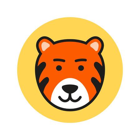 tigress: Cute Cartoon Tiger Head. Vector Icon Illustration