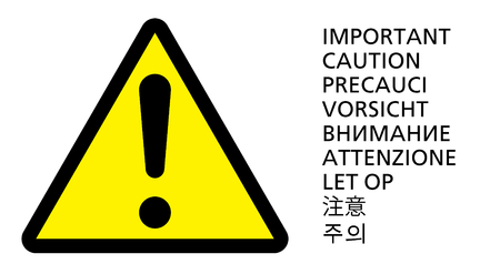 Attention yellow sign with text on different languages. Attention, caution, important icon or symbol