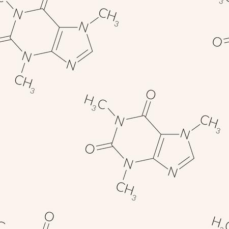 dependence: Caffeine molecule pattern, seamless background design