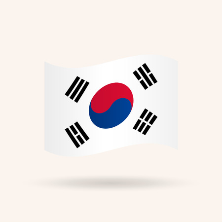 Waving flag of South Korea. Accurate dimensions, proportions and colors. Vector Illustration
