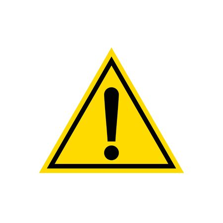 Warning, attention yellow triangle sign icon, isolated on white background Illustration
