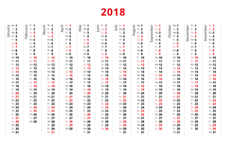 Simple design 2018 year calendar, week starts from Monday