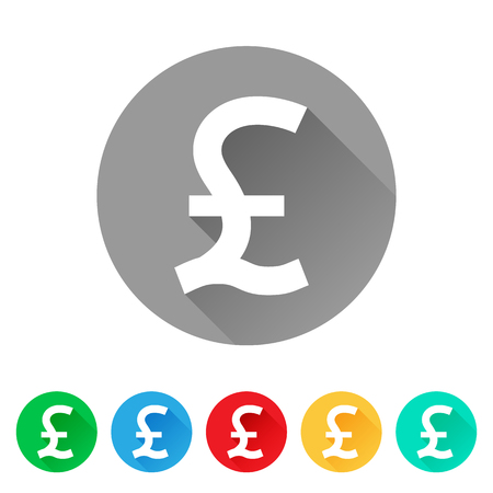 GBP, Set of Pound sign icons, currency symbol