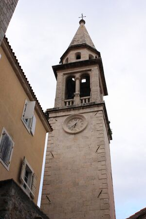 Tower with clock 6 40 pm. Moment in history Montenegro