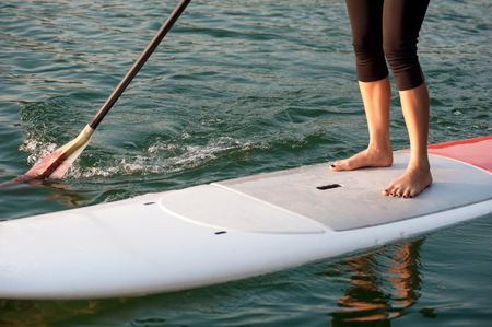 front view of a young woman paddleboarding in sports clothing, SUP Banque d'images
