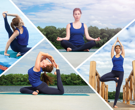 Collage of several photos on the topic of yoga. Concept healthy lifestyle. Lots of copy space.