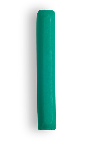 turquoise piece of color plasticine on white background isolated Stock fotó