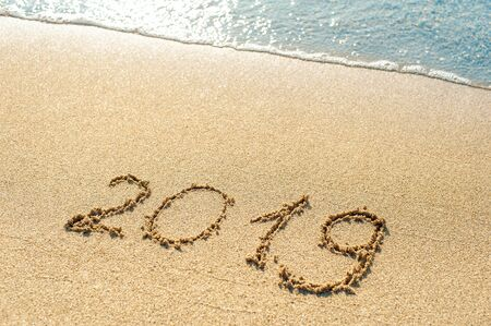 2019 new year on sand