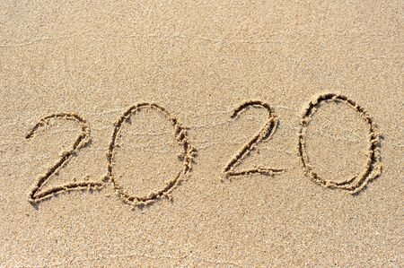 2020 new year on sand