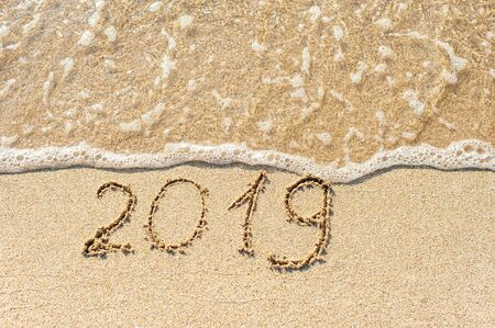 2019 new year on sand Banque d'images - 137846694