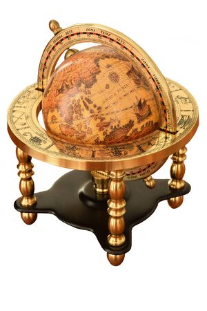 Vintage Earth Globe in antique vintage style white background
