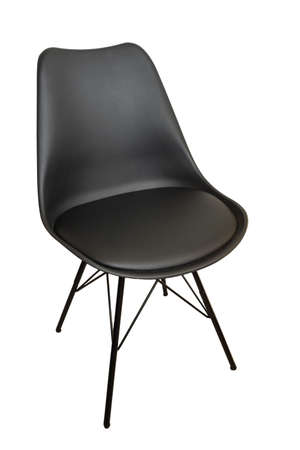 Black leather chair or armchair on four legs close up on white clipping background