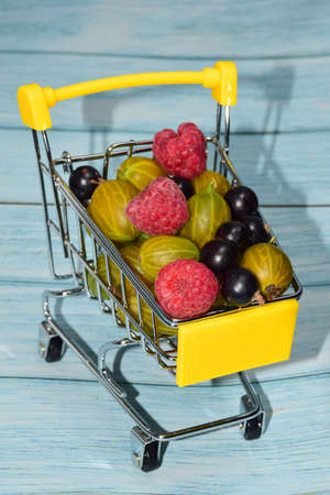Raspberries, gooseberries and currants are heaped in a small yellow toy shopping cart. Photographed close-up