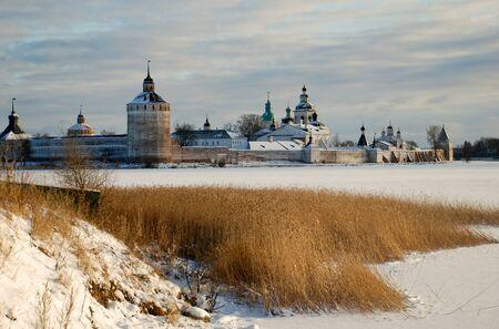 Kirillo-belozersky monastery. View of the monastery from the ice of Siverskoye lake.