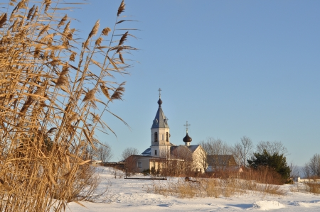 Peter and Paul Church on the island Belov in the Pskovskoe lake  Winter, New year 2013