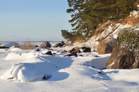 The Pskov lake, the island Belov. Winter landscape. January 2013.