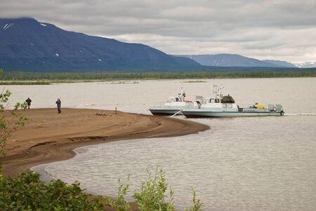 floatable: Russia, Putorana. Floatable boat on the shore of lake Lama.