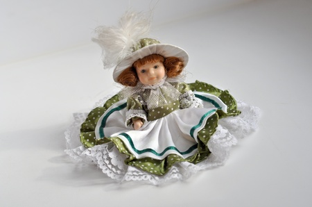 mantelpiece: Doll dressed girls. The decor to the mantelpiece.