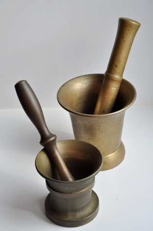 A mortar, and a pestle. Indispensable in the kitchen for a gourmet-enthusiast. photo