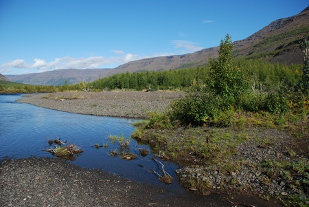 The end of the summer on the Putorana plateau. The valley of the river Mikchangda.